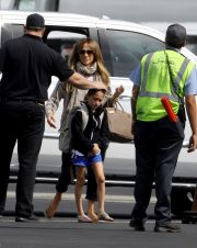 JLo and The Twins Catch A Flight